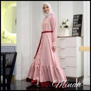 Gamis Modern Murah Minah Maxi Bahan Linen Romario