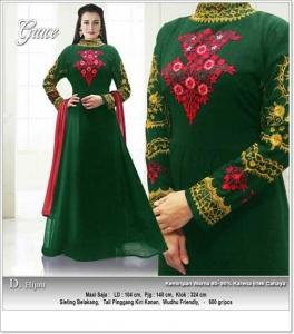Jual Grosir Baju Pesta Muslim Grace Dress Bahan Ceruti