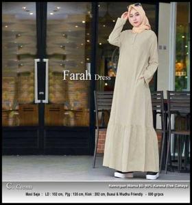 Online Shop Baju Hijab Modern Farah Maxi Warna Cream Bahan Linen Rami