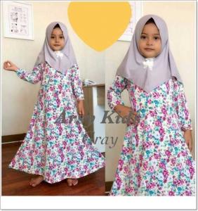 Baju Gamis Anak Perempuan Lucu Arsy Kids 1 Khimar Bahan Full Jersey