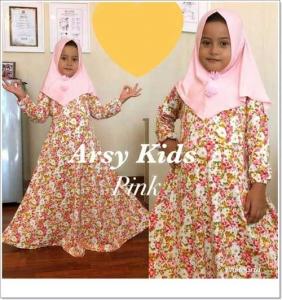 Baju gamis Anak perempuan Lucu Arsy Kids 4 Khimar Bahan Jersey