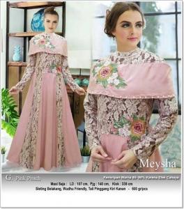 Gaun Pesta Muslimah Cantik Unik Meysha Dress Bahan Baloteli Peach Kombi Brukat