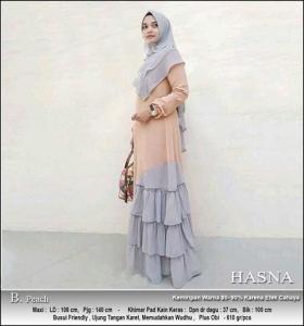 Jual Baju Gamis Cantik Model Baru Hasna Syar'i Bahan wollycrepe