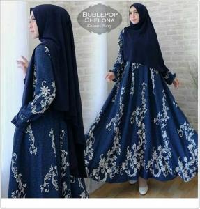 Jual Gamis Muslimah Cantik Shelona Syar'i Bahan Bubblepop