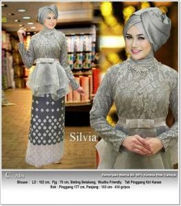 Jual Online Busana Muslim Pesta Modern Silvia Bahan Brukat Impor