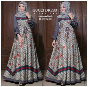 Online Shop Baju Hijabers Modern Guci Dress Bahan Maxmara Lux