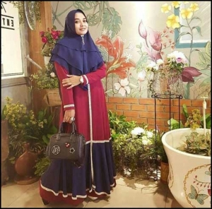 Supplier Gamis Muslimah Cantik Shabiya Dress Bahan Wolly Crepe