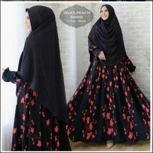 Jual Baju Gamis Cantik Anggun Anggi Syar'i Bahan woolpeach