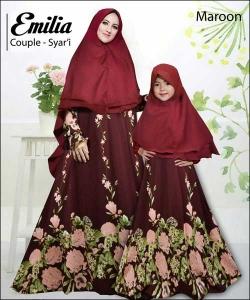 Baju Muslim Ibu dan Anak Emilia Couple warna Maroon Bahan Monalisa