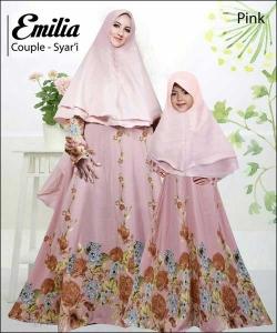 Baju Muslim Ibu dan Anak Emilia Couple Bahan Monalisa