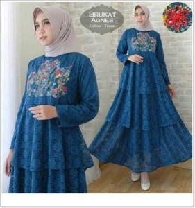Gamis Modern Ukuran Kecil Agnes Dress Warna Biru Bahan Brukat