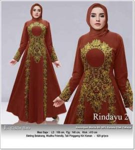 Jual Baju Gamis Cantik Anggun Rindayu Dress Bahan Baloteli