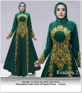 Jual Baju Gamis Cantik Anggun Rindayu Dress Warna Hijau Bahan Baloteli