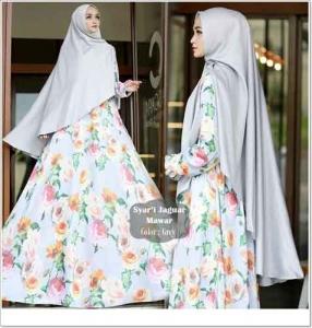 Jual Baju Gamis Terbaru Mawar Syar'i Warna Abu Bahan Jaguard