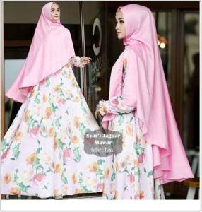 Jual Baju Gamis Terbaru Mawar Syar'i Warna Pink Bahan Jaguard