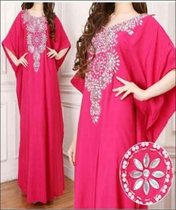 Jual Busana Muslim Modern Kaftan Aisyah Warna Pink Bahan Amunzen