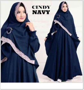 Baju Gamis Syar'i Murah Online Cindy-Syar'i warna Navy Bahan Misbie