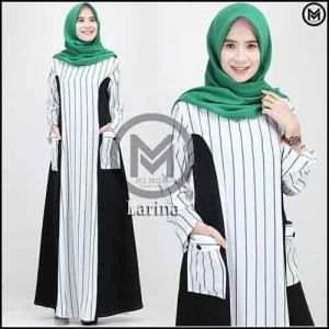 Busana Gamis Premium Larina Dress Bahan Maxmara Kombi Toyobo