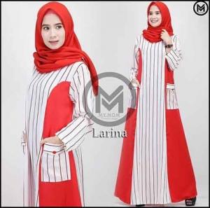 Busana Gamis Premium Larina Dress_Bahan Maxmara Kombi Toyobo