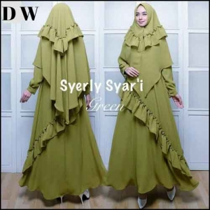 Jual Baju Gamis Cantik Model Terkini Syerli Syar'i Bahan Crepe-Premium