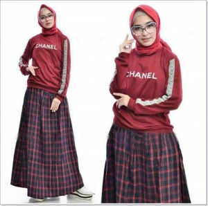 i Chanel Set Bahan Kaos Combed