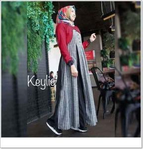 Gamis Modern Keylie Dress Bahan Linen Romario Kombinasi Toyobo