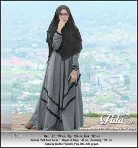 Jual Online Baju Gamis Katun Fida Syar'i Bahan Katun Oxford Premium