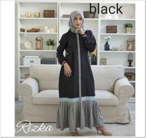 Jual Online Baju Gamis Katun Polos Rizka Dress Bahan Toyobo