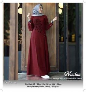 Gamis Murah Cantik Nazlan Dress Warna Maroon Bahan Linen Rami