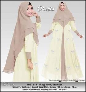 Supplier Baju Gamis Pesta Tanah Abang Pevita Syar'i Cream Bahan Ceruti
