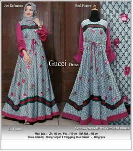 Gamis Cantik Terbaru Mewah Guci Dress Warna Fanta Bahan Maxmara