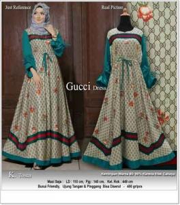 Gamis Cantik Terbaru Mewah Guci Dress Warna Tosca Bahan Maxmara