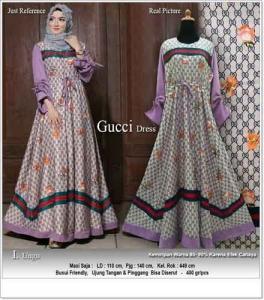 Gamis Cantik Terbaru Mewah Guci Dress Warna Ungu Bahan Maxmara