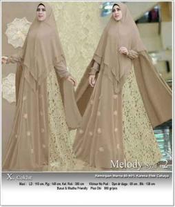 Jual Grosir Gamis Melody Syar'i Warna Coklat Bahan Ceruti Premium