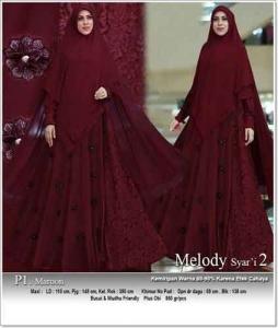 Jual Grosir Gamis Melody Syar'i Warna Maroon Bahan Ceruti Premium