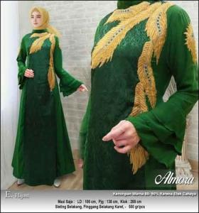 Supplier Baju Gamis Pesta Syar'i Almora Dress Warna Hijau bahan Jacquard