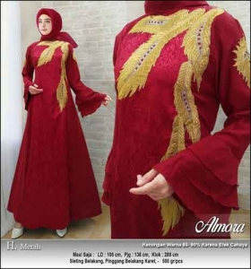 Supplier Baju Gamis Pesta Syar'i Almora Dress Warna Merah bahan Jacquard