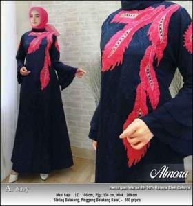 Supplier Baju Gamis Pesta Syar'i Almora Dress Warna Navy bahan Jacquard