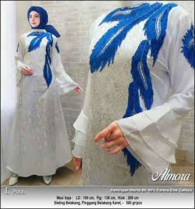Supplier Baju Gamis Pesta Syar'i Almora Dress Warna Putih bahan Jacquard