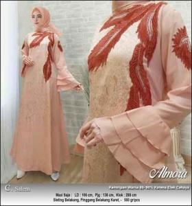 Supplier Baju Gamis Pesta Syar'i Almora Dress Warna Salem bahan Jacquard