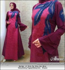 Supplier Baju Gamis Pesta Syar'i Almora Dress Warna Ungu bahan Jacquard