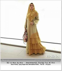 Supplier Gamis Pesta Kombinasi Warna Hasna Syar'i Warna Gold Bahan Wollycrepe