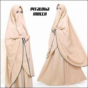 Gamis Cantik Bercadar Pitaloka Syar'i warna Mocca Bahan Amunzen