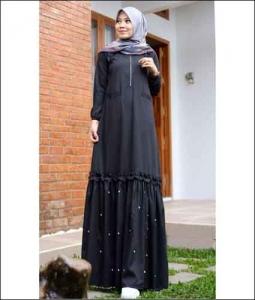 Jual Baju Gamis Katun Zahwa Dress warna Black Bahan Toyobo