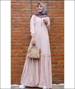 Jual Baju Gamis Katun Zahwa Dress warna Dusty Milo Bahan Toyobo