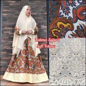 Jual Online Baju Gamis Terbaru Fatma Syar'i warna Soft Yellow Bahan Crepe Silk