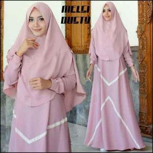 Supplier Baju Gamis Melsa Syar'i Polos Warna Dusty Bahan Amunzen
