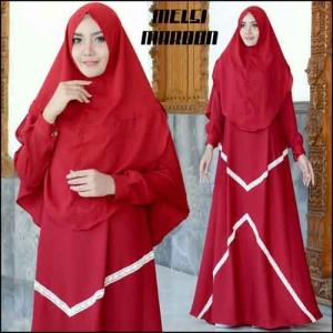 Supplier Baju Gamis Melsi Syar'i Polos Warna Maron Bahan Amunzen