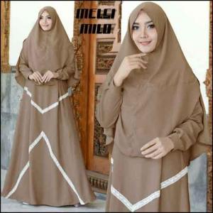 Supplier Baju Gamis Melsi Syar'i Polos Warna Milo Bahan Amunzen