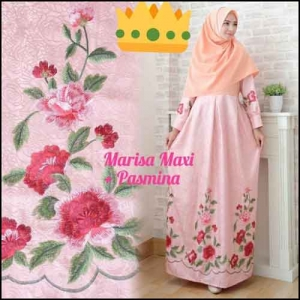 Supplier Baju Gamis Pesta Syar'i Tanah Abang Marisa Dress 1 Bahan Woolpeach